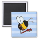 worker bee - plumber 2 inch square magnet