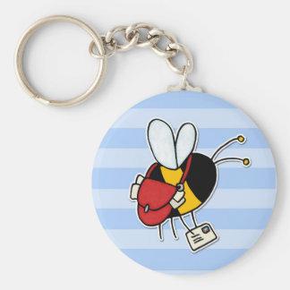 worker bee - postal worker basic round button keychain