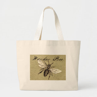Worker Bee Vintage Drawing Artwork Print Large Tote Bag