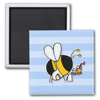 worker bee - waitress 2 inch square magnet