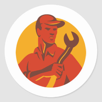 Worker Hat Spanner Front Classic Round Sticker