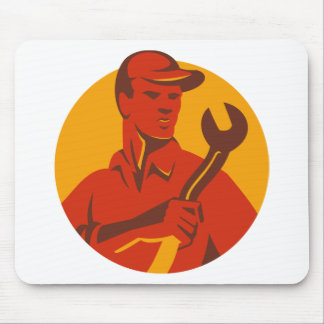 Worker Hat Spanner Front Mouse Pad