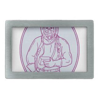 Worker Haz Chem Suit Oval Mono Line Belt Buckle