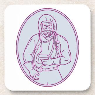 Worker Haz Chem Suit Oval Mono Line Beverage Coaster