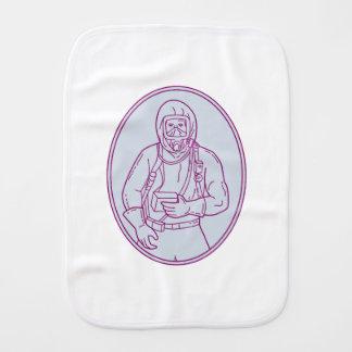 Worker Haz Chem Suit Oval Mono Line Burp Cloth