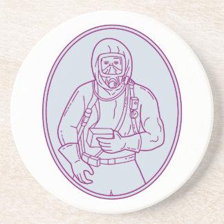 Worker Haz Chem Suit Oval Mono Line Coaster