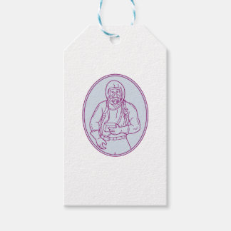 Worker Haz Chem Suit Oval Mono Line Gift Tags