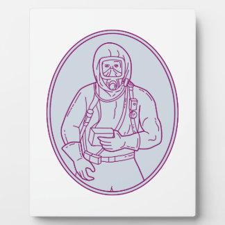 Worker Haz Chem Suit Oval Mono Line Plaque