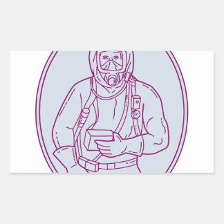 Worker Haz Chem Suit Oval Mono Line Rectangular Sticker