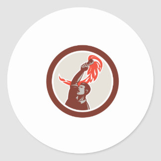 Worker Holding Up Flaming Torch Circle Retro Round Stickers