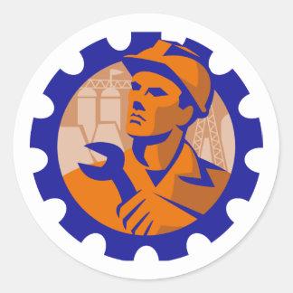 Worker In a Cog Classic Round Sticker