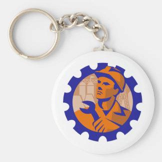 Worker In a Cog Keychain