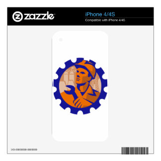 Worker In a Cog Skins For iPhone 4S