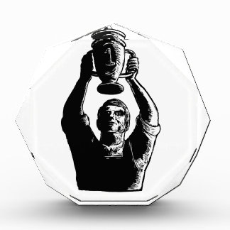 Worker Lifting Championship Cup Scratchboard Acrylic Award