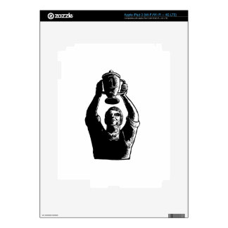 Worker Lifting Championship Cup Scratchboard Decals For iPad 3