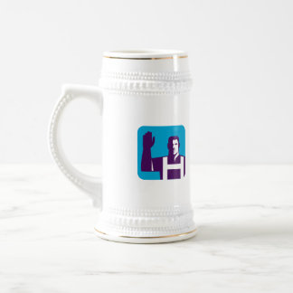 Worker Right Arm Raise to Vote Square Retro Beer Stein