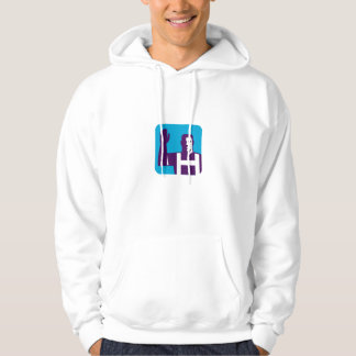 Worker Right Arm Raise to Vote Square Retro Hoodie