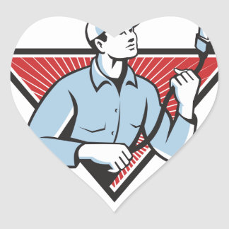 Worker Technician Holding HDMI Cable Heart Sticker
