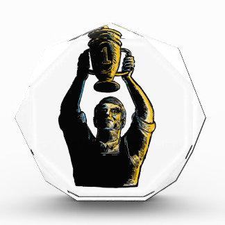 Worker Winning Championship Trophy Cup Woodcut Acrylic Award
