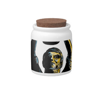 Worker Winning Championship Trophy Cup Woodcut Candy Jar