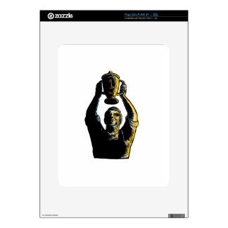 Worker Winning Championship Trophy Cup Woodcut Decal For iPad
