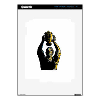 Worker Winning Championship Trophy Cup Woodcut Decals For iPad 3