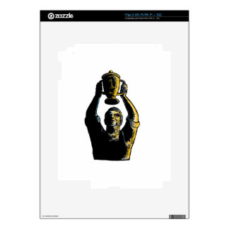 Worker Winning Championship Trophy Cup Woodcut Decals For The iPad 2