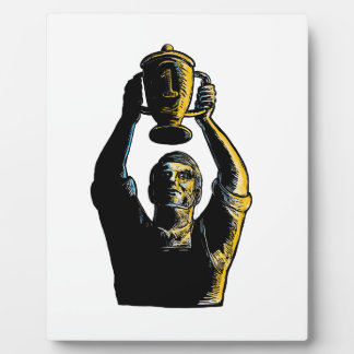 Worker Winning Championship Trophy Cup Woodcut Plaque