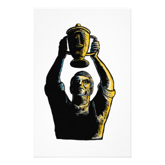 Worker Winning Championship Trophy Cup Woodcut Stationery