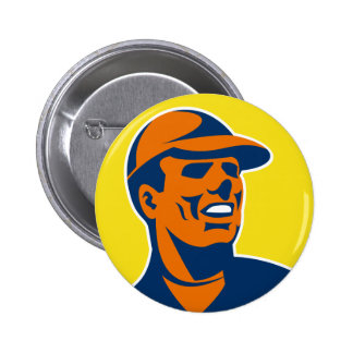 worker with hat cap looking up retro pin