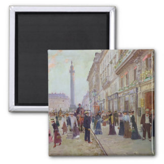Workers leaving the Maison Paquin 2 Inch Square Magnet