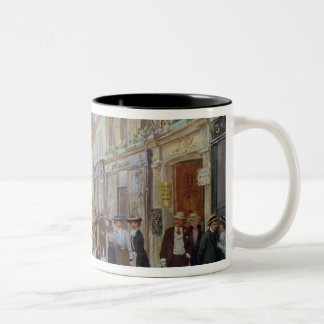 Workers leaving the Maison Paquin Two-Tone Coffee Mug