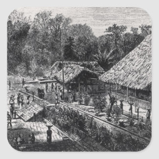 Workers on a Coffee Plantation Square Sticker