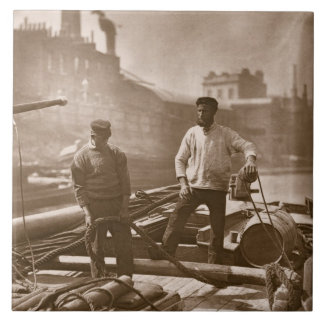 Workers on the 'Silent Highway', from 'Street Life Ceramic Tile