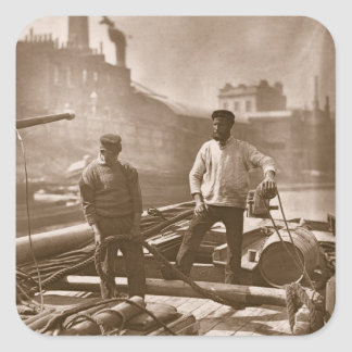 Workers on the 'Silent Highway', from 'Street Life Square Sticker