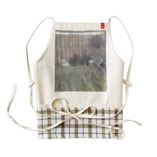 Workers preparing bamboo sections zazzle HEART apron