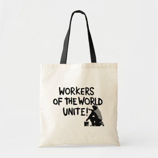 WORKERS THE WORLD UNITE GRAFFITI SPRAY-PAINTING MO TOTE BAG