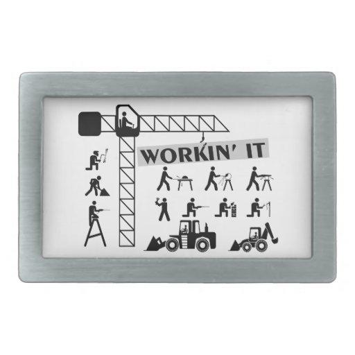 Workin él trabajadores de cuello azul hebilla cinturon rectangular