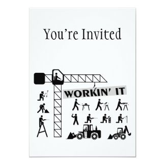 Workin It Blue Collar Workers 5x7 Paper Invitation Card