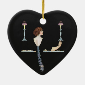Working and Playing Double-Sided Heart Ceramic Christmas Ornament