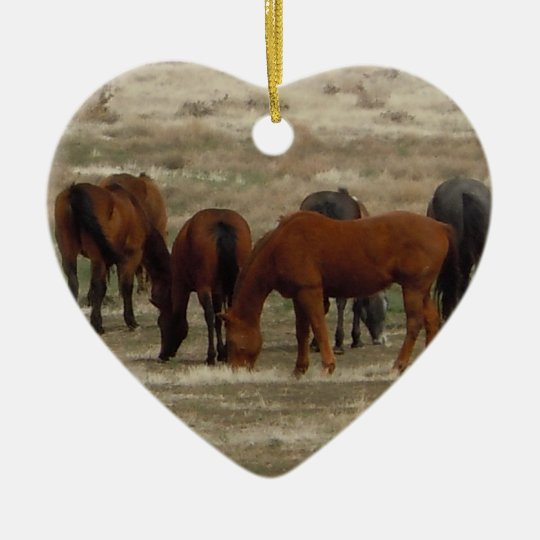 Working Cow Horses Graze Western Two-sided Ceramic Ornament
