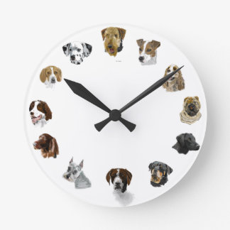 Working dogs hand drawn round clock