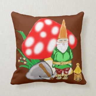 Working Fantasy Gnome Square Throw Pillow