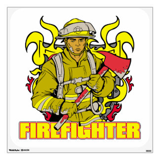 Working Firefighter Wall Sticker