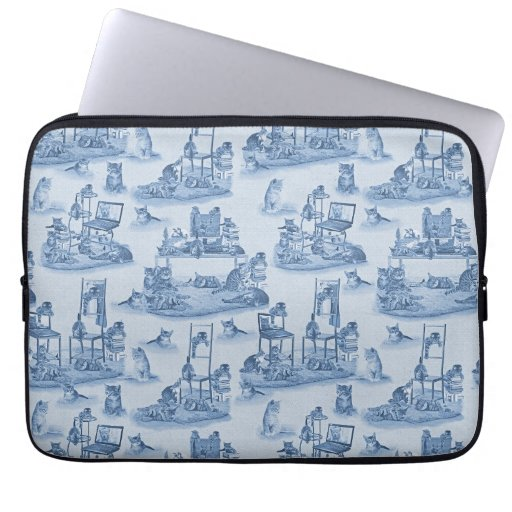 Working from Home with my Cats two-tone Delft Blue Laptop Sleeve