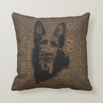 Working German Shepherd Dog  - GSD Word Pattern Throw Pillow