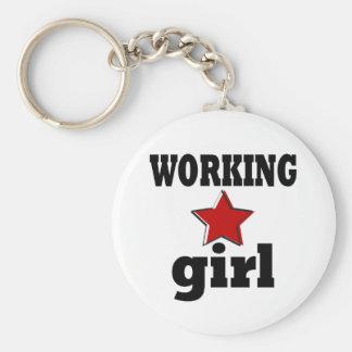 Working Girl Basic Round Button Keychain