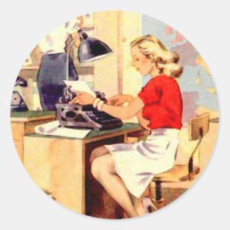 Working Girl Classic Round Sticker