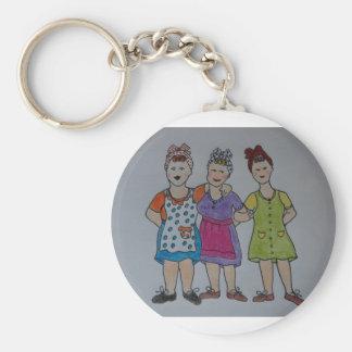 working girls basic round button keychain