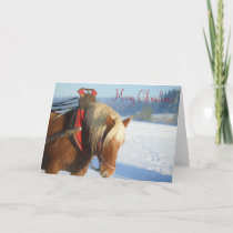 Working horse in the snow-Christmas Card